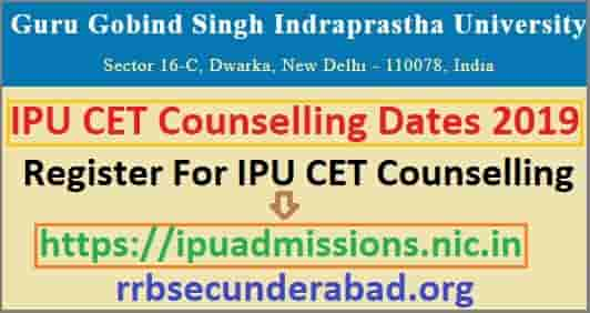 IPU CET Counselling Schedule 2019