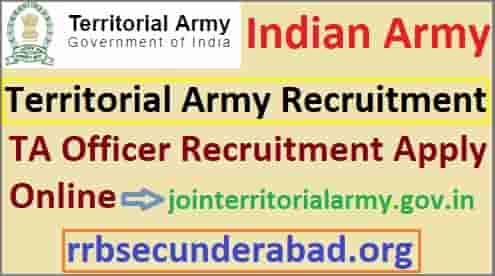 Territorial Army Officer Recruitment 2019