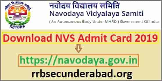 NVS Admit Card 2019