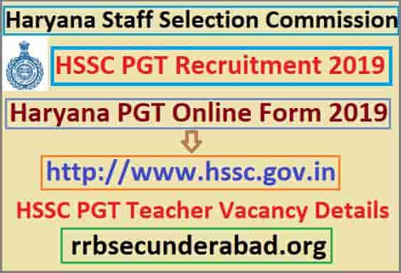 HSSC PGT Teacher Recruitment 2019