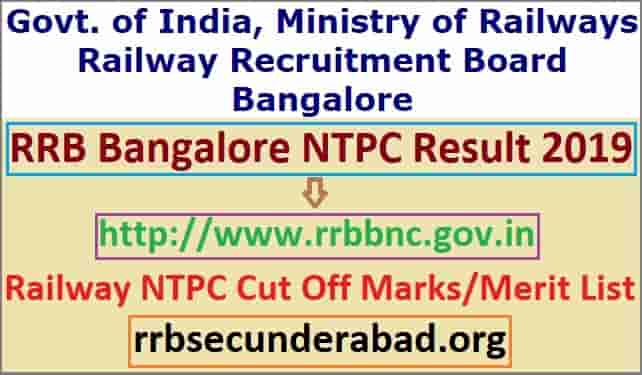 RRB Bangalore NTPC Result 2019