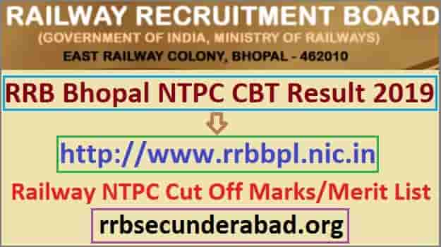 RRB Bhopal NTPC CBT 1 Result 2019