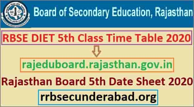 RBSE 5th Class Time Table 2020